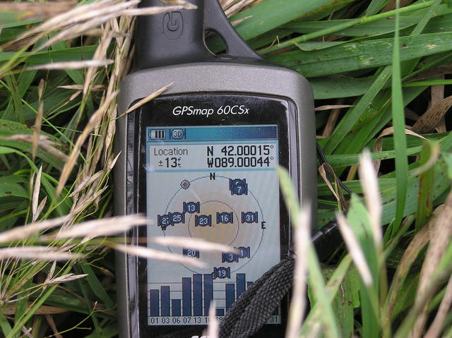 My GPS receiver, 131 feet from the confluence point