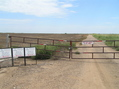 #6: Gas leases along the east-west road, looking east, Kansas on left, Oklahoma on right, 30 meters south of confluence.