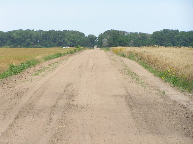 View along the road just north of the confluence, looking east from 99 West Longitude.