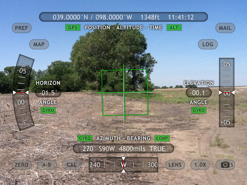 iPad view west using Theodolite - lots of useful data is superimposed.