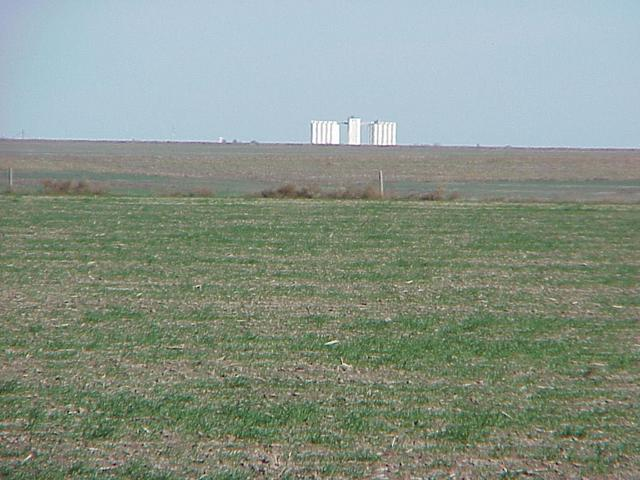 View from the confluence to the north toward the grain elevator at Monument, Kansas.
