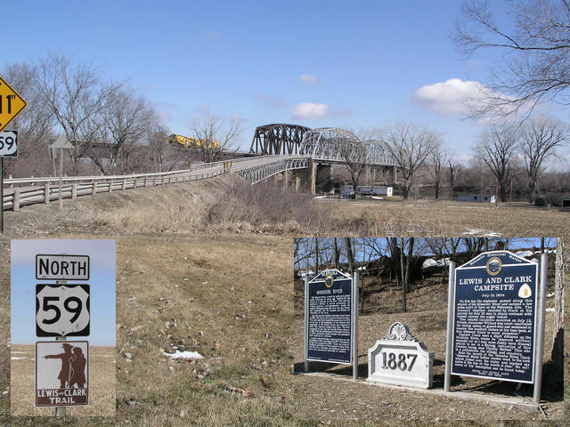 Both trains and cars can cross the Missouri River at historic Rulo.