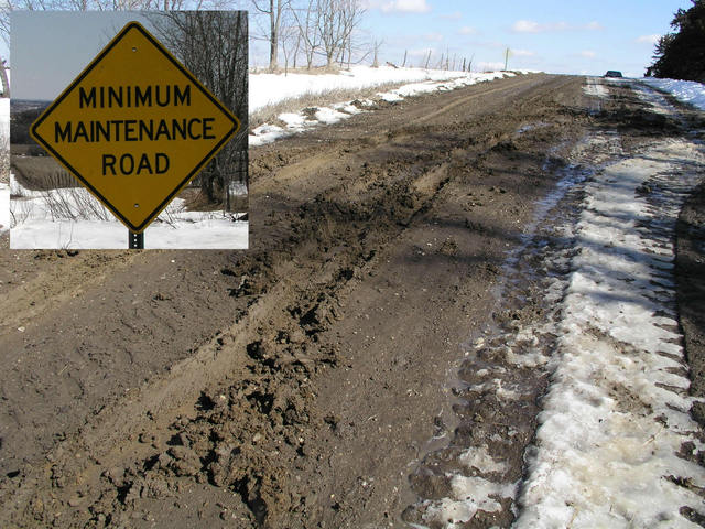 "The textbook definition of a ""Minimum Maintenance Road."""