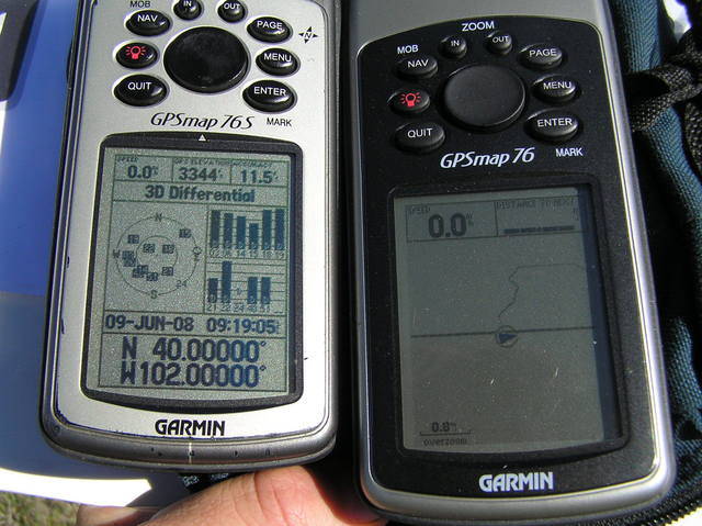 GPS receivers at confluence; the right receiver shows hiking path into Kansas from Nebraska.