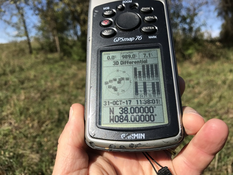 GPS receiver at the confluence point of 38 North 84 West.