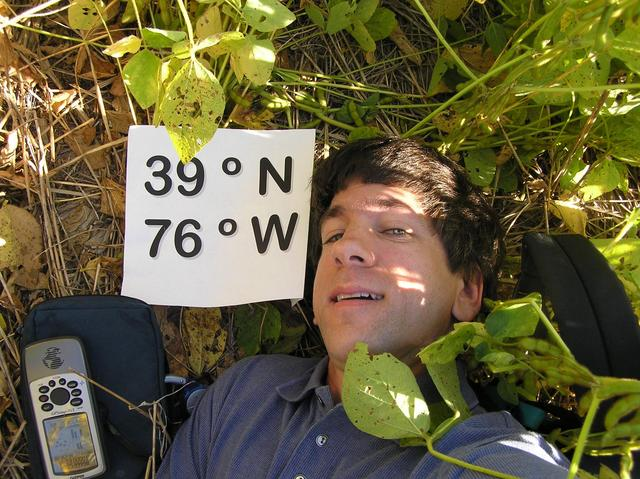 Joseph Kerski lying on the confluence of 39 North 76 West!