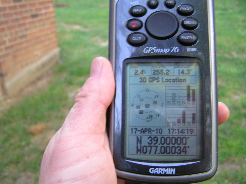 GPS reading near the closest point to the confluence.