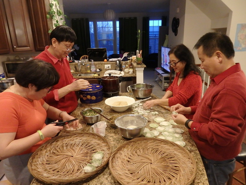 Preparing dumplings for the Chinese New Year
