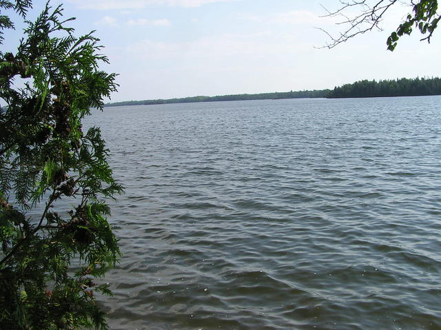 A view from Caribou Lake's boat ramp. The confluence point lies 0.65 miles away