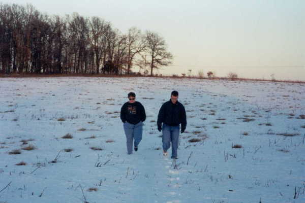 Our long walk across a snow covered field. Joe (Brother In Law) and Anna (My wife) chatting.