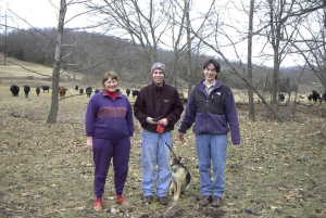 #1: Linda, Jon, Jody and Sheila the confluence hunting dog.