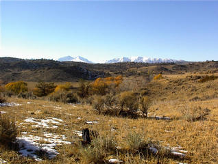 #1: West view of Crazy Mountains from confluence