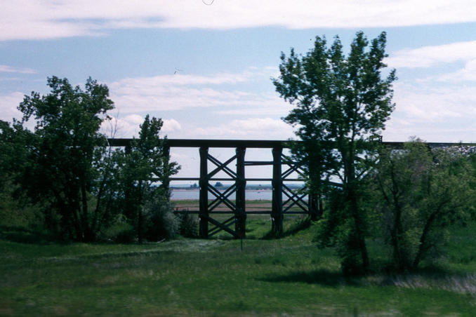 Railroad trestle and Lake Sakakawea
