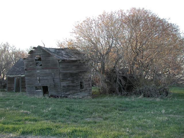 Abandoned buildings along farm road leading to confluence