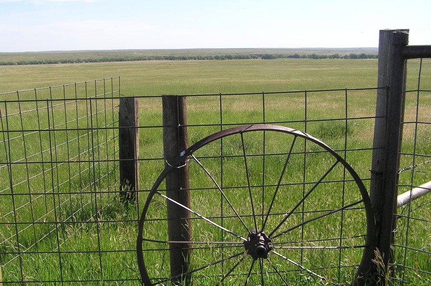 Fence and wagon wheel, about 150 meters south-southwest of the confluence, looking east-northeast.