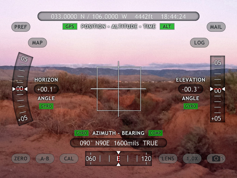 iPad View East with Theodolite App overlay of position data