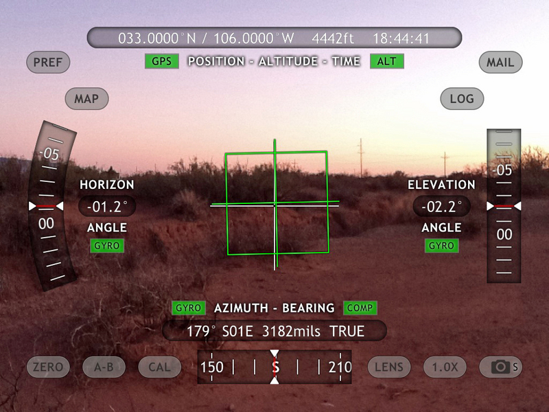 iPad View South with Theodolite App overlay of position data