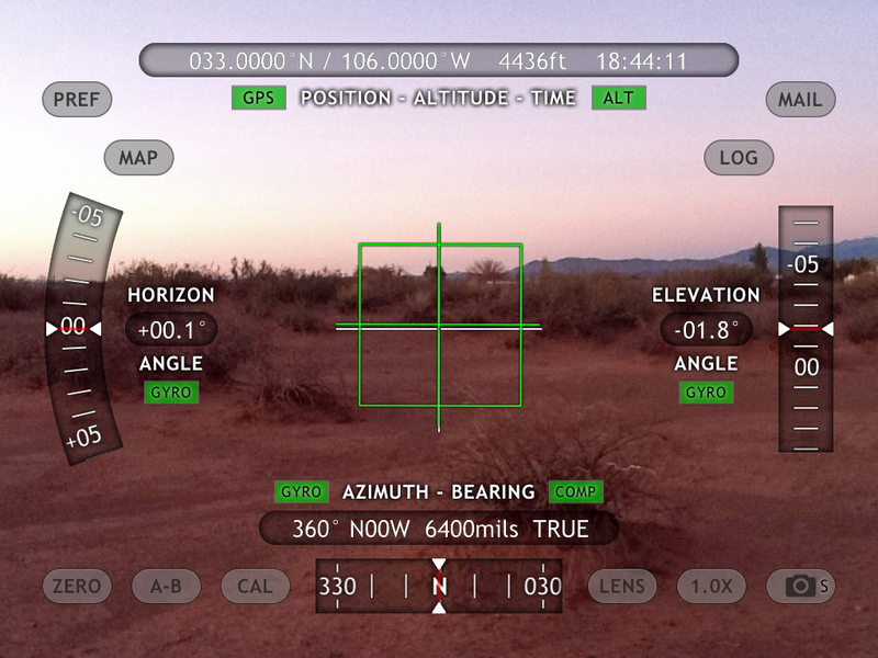 iPad View North with Theodolite App overlay of position data