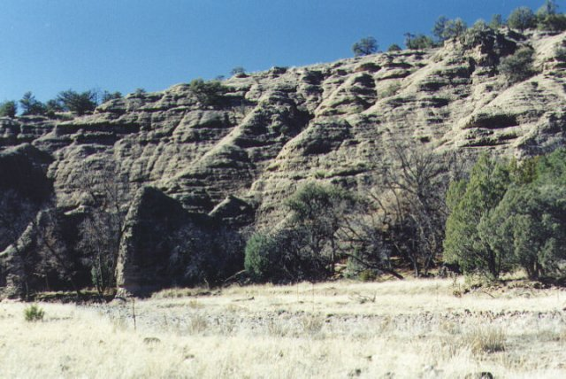 Sandstone walls of the canyon
