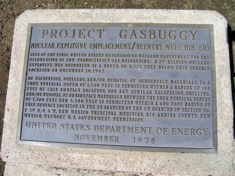 Project Gasbuggy monument