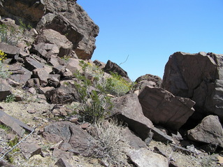 #1: The confluence of 36 North 115 West lies in the center of this photograph, left of the large rock, looking east-northeast.