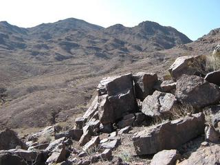 #1: West view. The rock in the foreground is the confluence, according to where I zeroed my GPS.