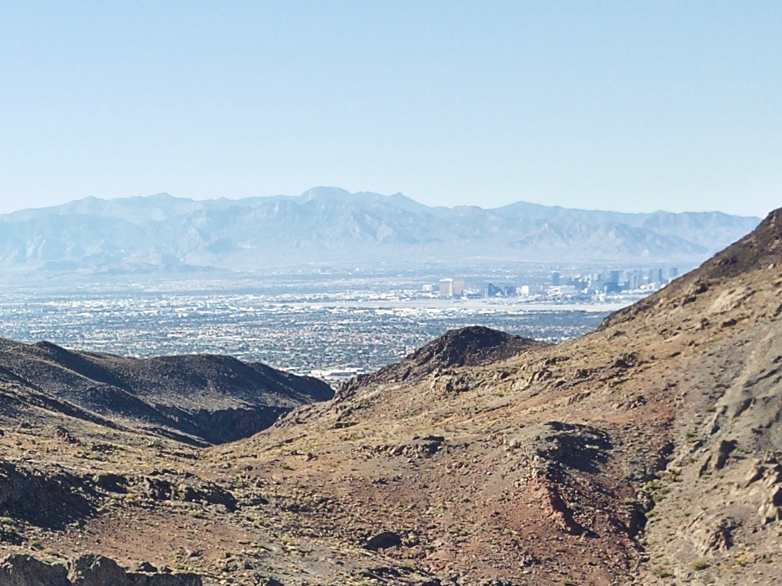 A close-up of the south end of the Las Vegas Strip - visible when looking West from 120m above the point