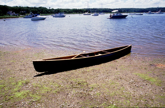 My canoe at the take-out point.