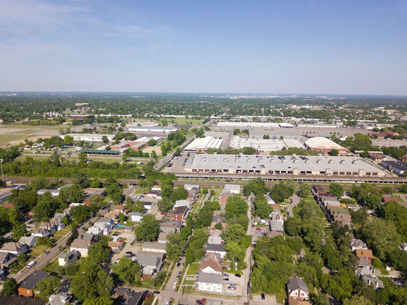 View East (of the Ohio Expo Center and Fairgrounds) from 400 feet above the point