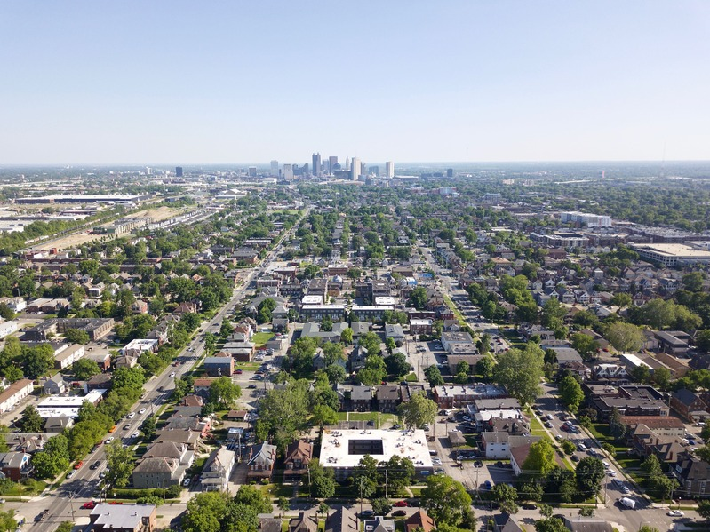 View South (towards downtown Columbus) from 400 feet above the point