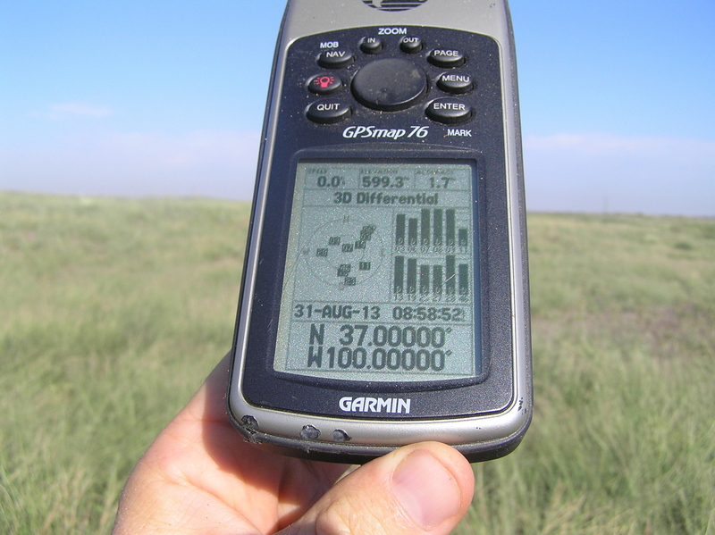 GPS receiver at confluence point.