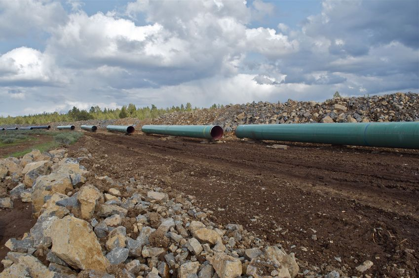 A closer look at the natural gas pipeline being installed, just south of the road