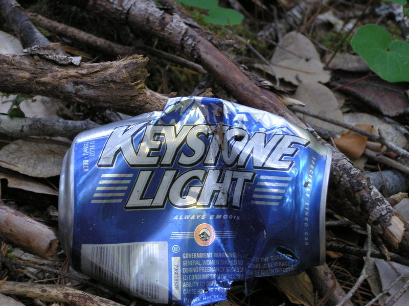 "A ""Keystone Light"" beer can, left by a previous (littering) visitor"