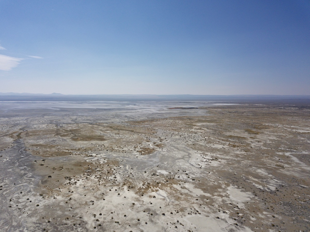 View South (across the dry Alkali Lake) from 120 m above the point