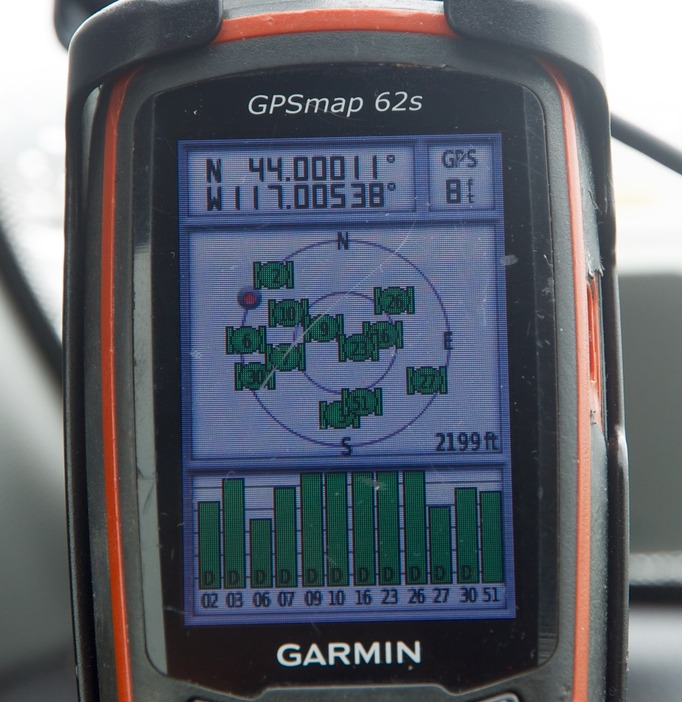 My GPS receiver, 0.25 miles from the confluence point