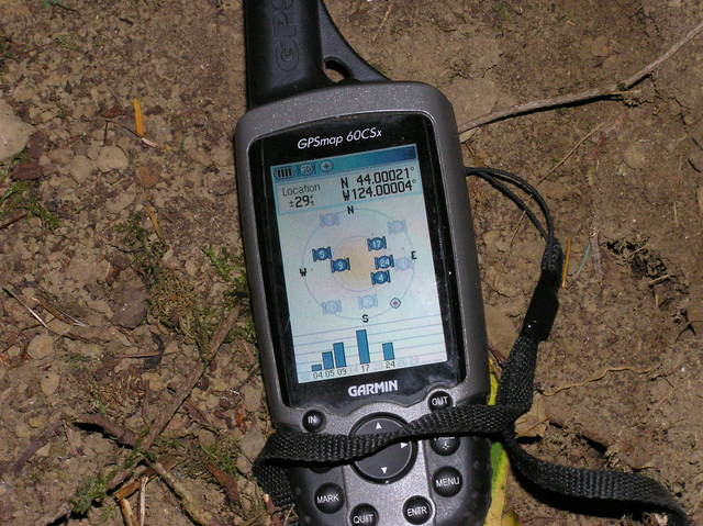 My GPS receiver, 20 feet from the confluence point