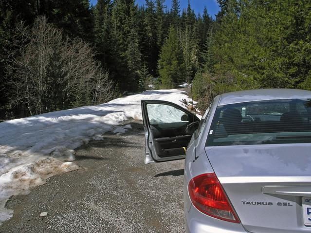 Road blocked by snow bank