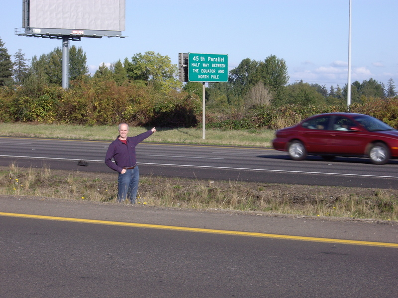 Nearby 45th parallel sign on I-5 on my 45th birthday
