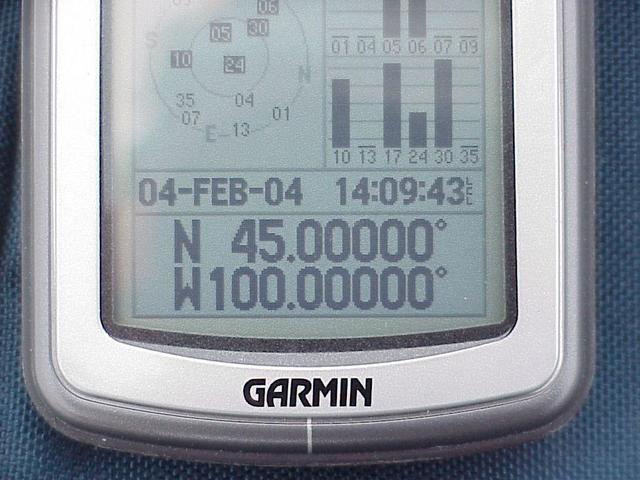 GPS reading at the confluence site... halfway to the North Pole!