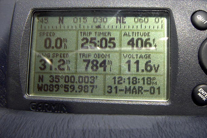 GPS reading on the dashboard of the Audi, parked across the street.