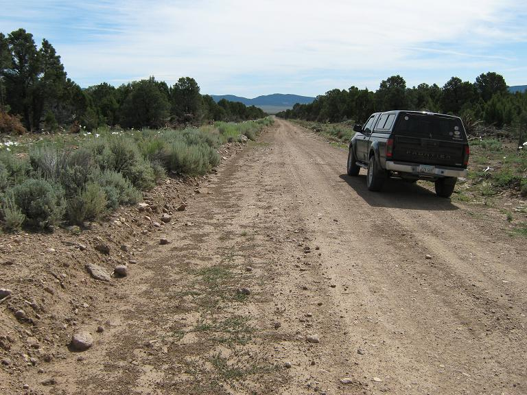 Looking east into Hamlin Valley (my vehicle on the 114th meridian)