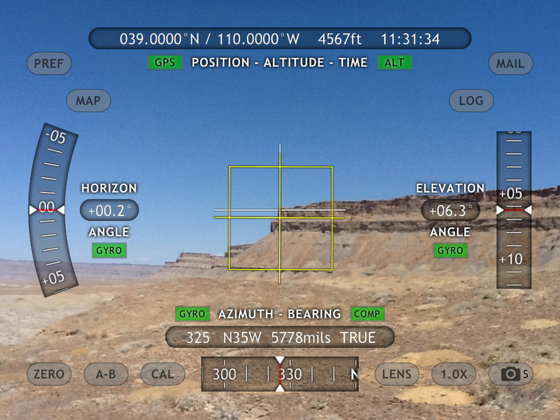 Theodolite bearing and elevation to ridge NW of confluence.
