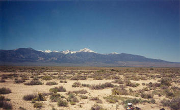 #1: T. McGee Bear facing southeast at the point with Wheeler Peak in Nevada in the background.