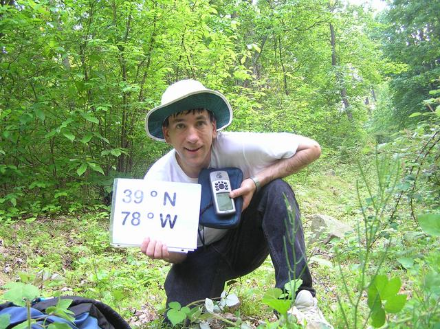 Joseph Kerski at the confluence of 39 North 78 West in the beautiful Shendandoah Mountains.