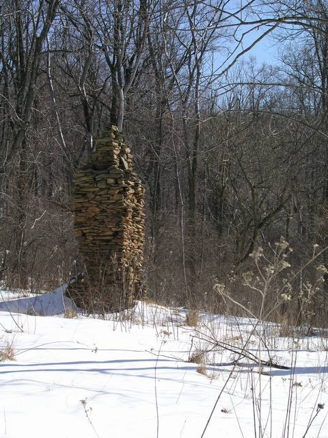 The first winter view of the frequently documented old chimney located just south of 39N 78W.