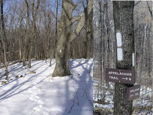 Signs of the Appalachian Trail in winter.