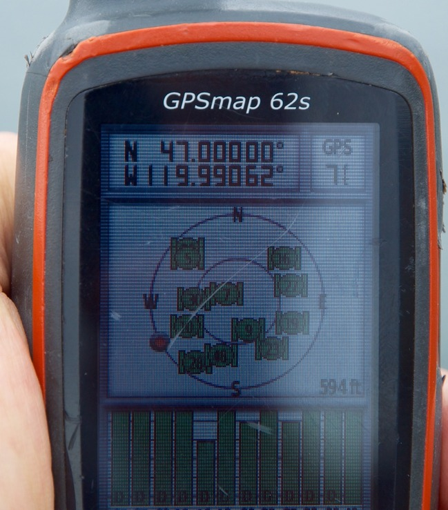 My GPS receiver, 0.44 miles from the confluence point