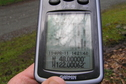#6: GPS reading near the confluence, before making the final dash to the point.