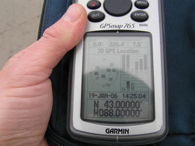 GPS reading at the confluence site; note that my local GPS time is set to Mountain Time, 1 hour earlier.