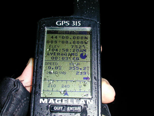 GPS at the confluence, 4:58 a.m.